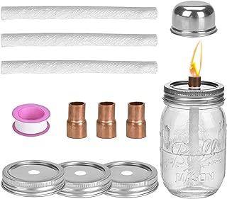Browill [3 Pack] Mason Jar Table Top Torches Set, Oil Lamp with 3 Fiberglass Wicks, 3 Mason Jar Lids(2.75-inch), 3 Coupling Reducer, 1 Teflon Cap, for Tiki Torch Kits Outdoor Backyard Lighting Decor