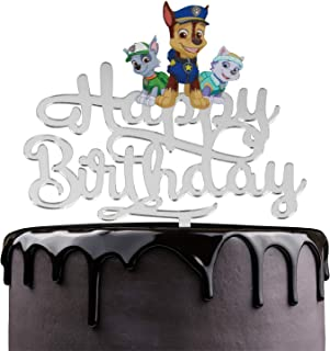 Paw Patrol Happy Birthday Cake Topper - Nickelodeon Dog Cartoon Theme Party Cake Décor - Baby Shower Boys Birthday Party Supplies - Adorable Chase Rocky Marshall Silver Mirrored Acrylic Decorations
