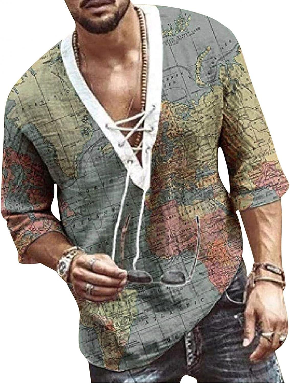 JSPOYOU Causal Shirt for Men Plus Size Cotton Linen Yoga Tops Long Sleeve Drawstring Printing Hippie Beach T-Shirts