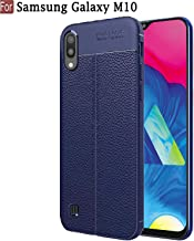 CEDO Silicon Soft Flexible Leather Textured Auto Focus Shock Proof Bumper Back Cover for Samsung Galaxy M10 (Blue)