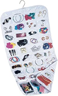 Felji 80-Pocket Hanging Jewelry and Accessories Organizer, White Vinyl