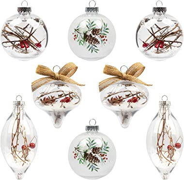 KI Store Clear Christmas Balls Set of 8 Large Christmas Ball Ornaments with Red Berry Snow Decorative Hanging Ornaments for X