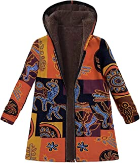 Macondoo Women Thickened Coat Plus Size Fleece Lined Hoodie Printed Jacket