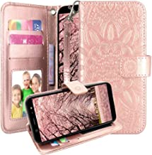 AT&T AXIA Case, Cricket Vision Case, Harryshell Kickstand Flip PU Leather Protective Wallet Case Cover with Card Slots Wrist Strap for AT&T AXIA QS5509A / Cricket Vision DQON5001 (Rose Gold)