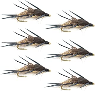 Double Bead Gold Ribbed Hare's Ear Nymph Fly Fishing Flies - Trout and Bass Wet Fly Pattern - 6 Flies Hook Size 12