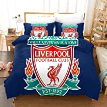 Liverpool Football Club Bedding Duvet Cover Set Duvet Cover Plus 2 Pillow Covers Luxury Soft Quality Wrinkle Fade and Stain Resistant(Double)