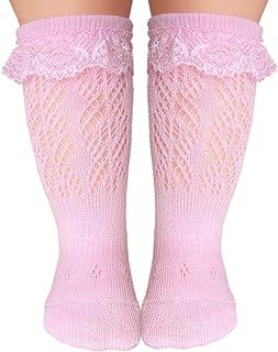 Bebés calcetines hasta la rodilla encaje costura plana para pies sensibles