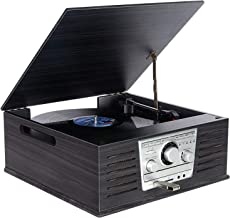 Wooden Vinyl Record Player,DLITIME 3-Speed Vinyl Turntable 2x2.5W Bluetooth Stereo Speakers, FM/AM/RCA/AUX/CD/SD/MP3/USB/H...