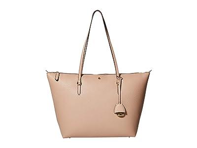 LAUREN Ralph Lauren Faux Pebble Grain Keaton 31 Medium Tote (Mellow Pink) Handbags