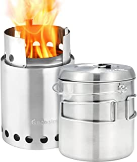 Solo Stove Titan Pot 1800 Combo Kit - Wood Burning Gassification Backpacking Stove Combo | Camping Survival Efficient Stove