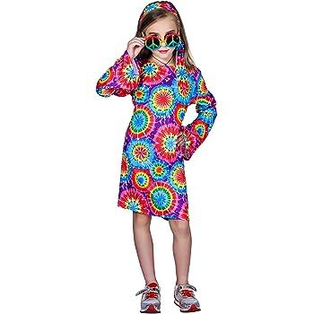 SEA HARE Disfraz de Hippie Retro para niñas de los años 60 y 70 (M ...