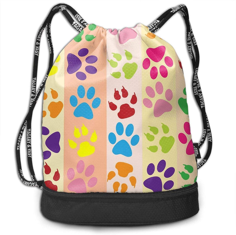 2197f05130a9 Gymsack Dog Footprint colorful Print Drawstring Bags Simple Bundle ...