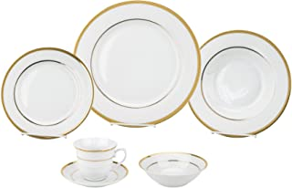 Porcelain Dinnerware Set, 24-Piece Service For 4 by Lorren Home Trends/Josephine Design: Dinner Plates, Soup Bowls, Salad Plates, Coffee Cups with Saucers, Fruit Bowls