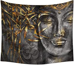 QCWN Buddha Tapestry,Buddhism Decorations Collection,Buddha Head Statue Picture Wall Hanging Tapestry for Bedroom Living Room Dorm. (78Wx59L, 6)