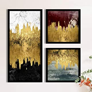 Abstract Wave Framed Painting/Posters for Room Decoration, Set of 3 Black Frame Art Prints/Posters for Living Room By Pain...