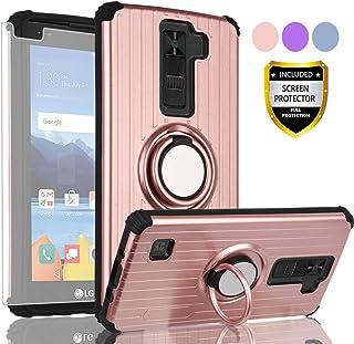AYMECL LG K8 V Phone Case,LG K8V Case,LG VS500 Case,LG K8V 2016(Verizon) Case with HD Screen Protector,360 Degree Rotating Ring Holder Travel Case Scratchproof Cover for LG K8V-SH Rose Gold