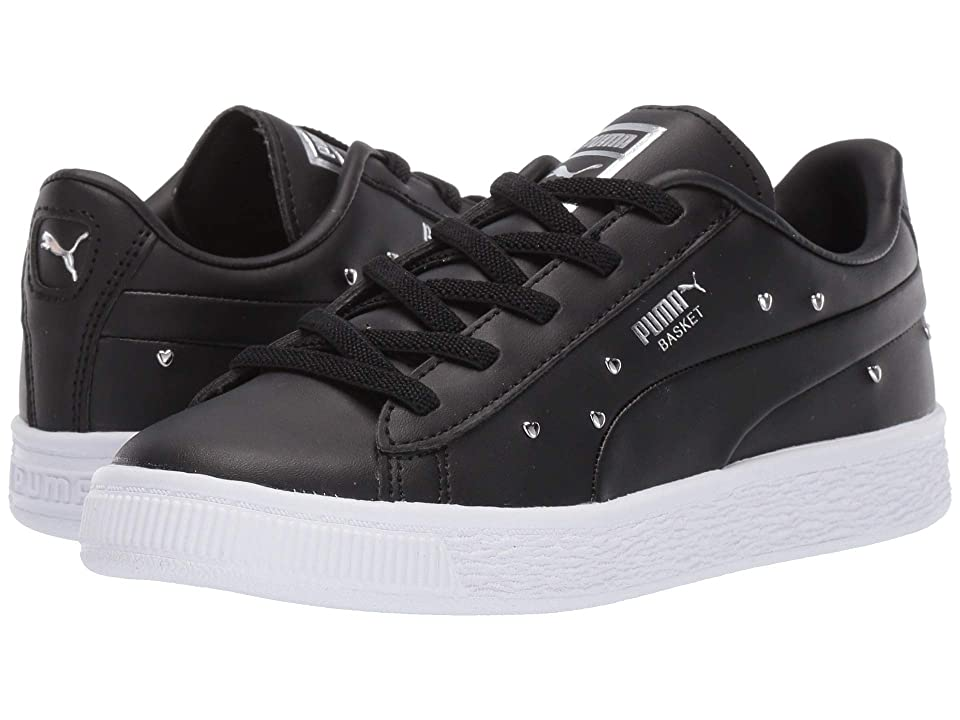 Puma Kids Basket Studs (Little Kid) (Puma Black/Puma Silver) Girls Shoes