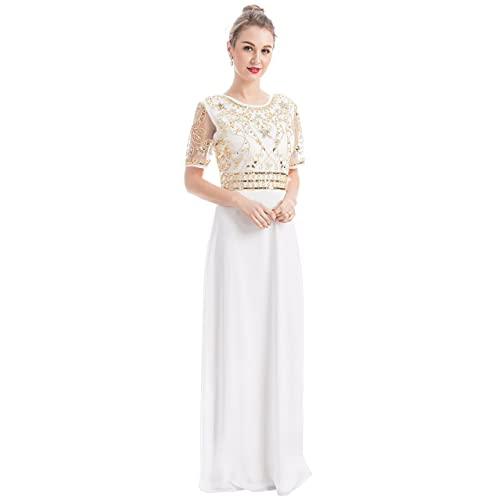d5656736fae MANER Women Chiffon Beaded Embroidered Sequin Long Gowns Prom Evening  Bridesmaid Dress