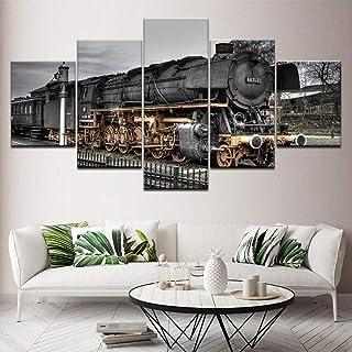 HJIAPO Toile Moderne D'Images Artistiques Numérisées 5 Pièces Gare De Locomotive Posters Et Arts Décoratifs Tableaux Impre...
