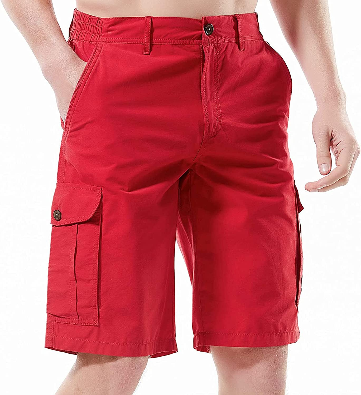 Love Handles Men's Lightweight Quick Dry Elastic Waistband Cargo Trousers Shorts Athletic with Pockets