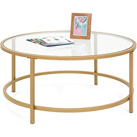 Best Choice Products 36in Modern Round Tempered Glass Accent Side Coffee Table for Living Room, Dining Room, Tea, Home Décor w/Satin Trim, Metal Frame, Non-Marring Foot Caps - Bronze Gold