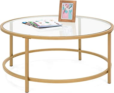 Best Choice Products 36in Modern Round Tempered Glass Accent Side Coffee Table for Living Room, Dining Room, Tea, Home Décor