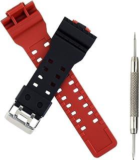 【工具付き】G-SHOCK対応交換バンド バネ棒外し付き 腕時計 バンド ベルト 16mm ウレタン オリジナルバンド (ブラック×レッド)