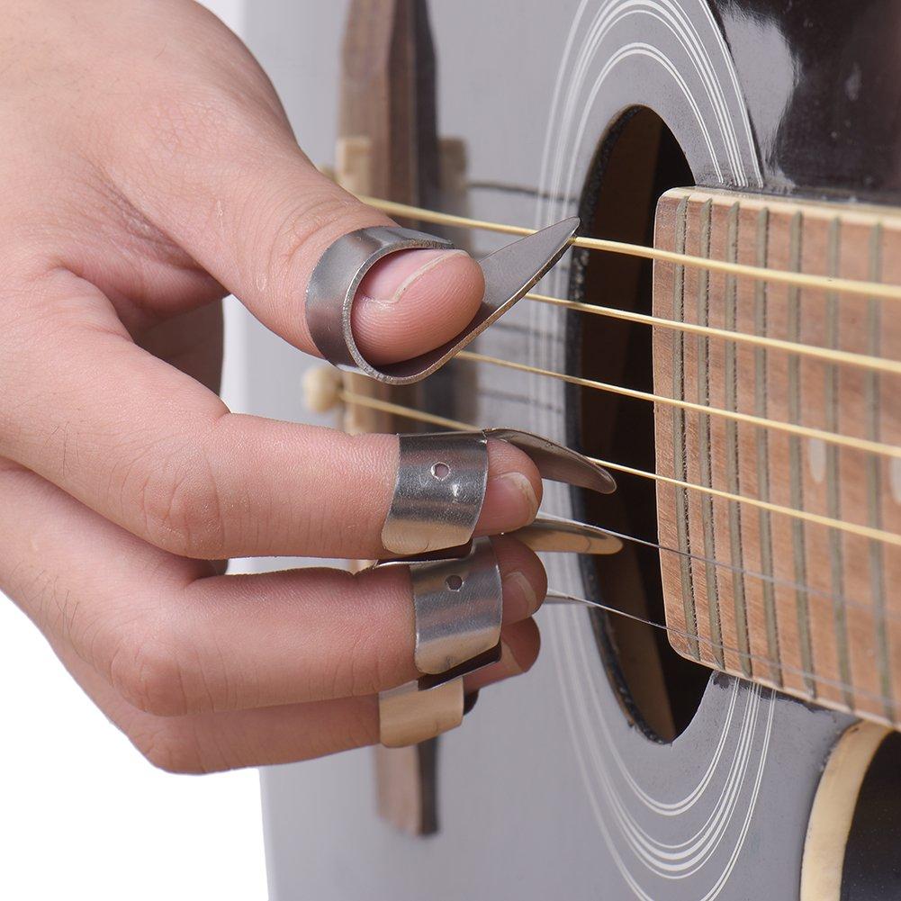 SHZONS - Juego de púas de guitarra para dedos (de metal, 3 para ...