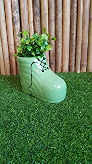Wonderland Ceramic Planter in Shoe Design - Green, Ceramics Pots, Indoor Planter, Table Top Planter, Plant Container, Flower Pot, Gamla, Stoneware (Pack of 1) Christmas Decor, Christmas Gift Item, Christmas Decoration, Christmas Decorations Items for Home, Christmas Special