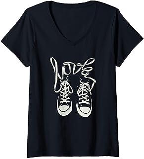 Femme Vintage chaussures orthographe LOVE avec conception de T-Shirt avec Col en V