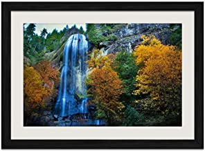 Fall Silver Falls By Robert Bynum - Art Print Wall Black Wood Grain Framed Picture(16x12inches)