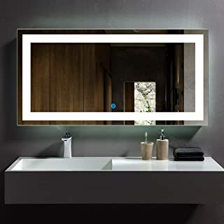 DP Home Large Bathroom Wall Mirrors for Over Sink, Frameless Mirror for Bathroom, Bedroom, Living Room, Lighted LED Backlit Wall Mounted Mirror, Make Up Mirror 48 x 24 in E-CK010-E