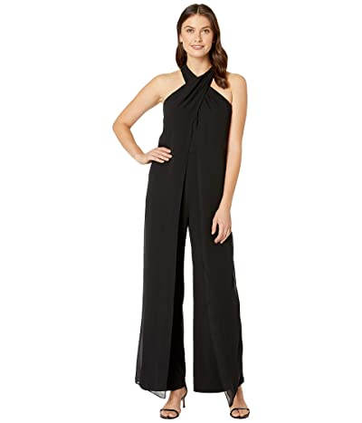 Tahari by ASL Crisscross Neck Crepe and Chiffon Jumpsuit (Black) Women