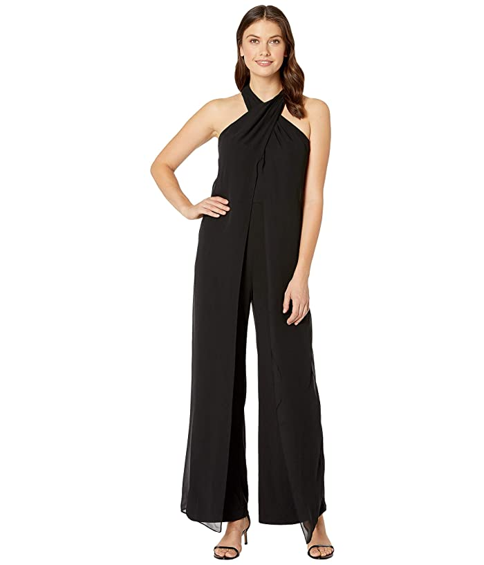 Tahari by ASL  Crisscross Neck Crepe and Chiffon Jumpsuit (Black) Womens Jumpsuit and Rompers One Piece