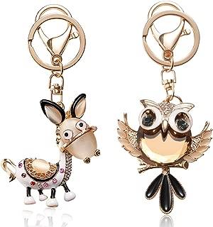 Cute Diamond Keychain, YINASI 2pcs Animal Shape Crystal Rhinestone Gold Charm Pendent Handbag Purse Bag Decorations Key Rings(Owl and Donkey)