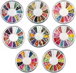 Jovana 8 Wheels Combo Set Nail Art Polymer Slices Fimo Decal Pieces Accessories - Butterflies, Bows, Animals, Fruit, Flowers.. etc
