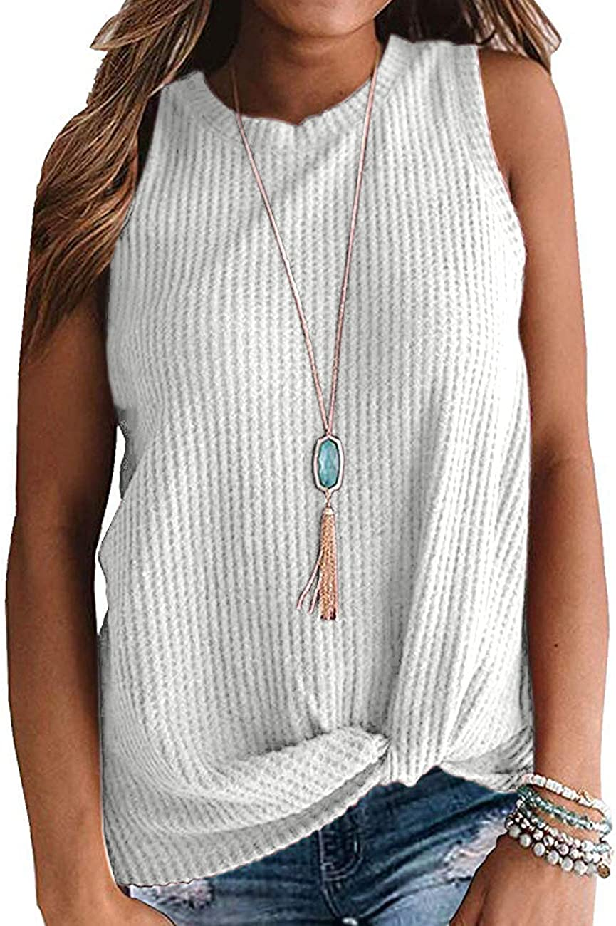 TODOLOR Womens Casual Waffle Knit Shirts Sleeveless Tank Tops Cute Twist Knot Tunic Blouse