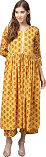Ahalyaa Mustard Gathered Printed Kurta With Pants