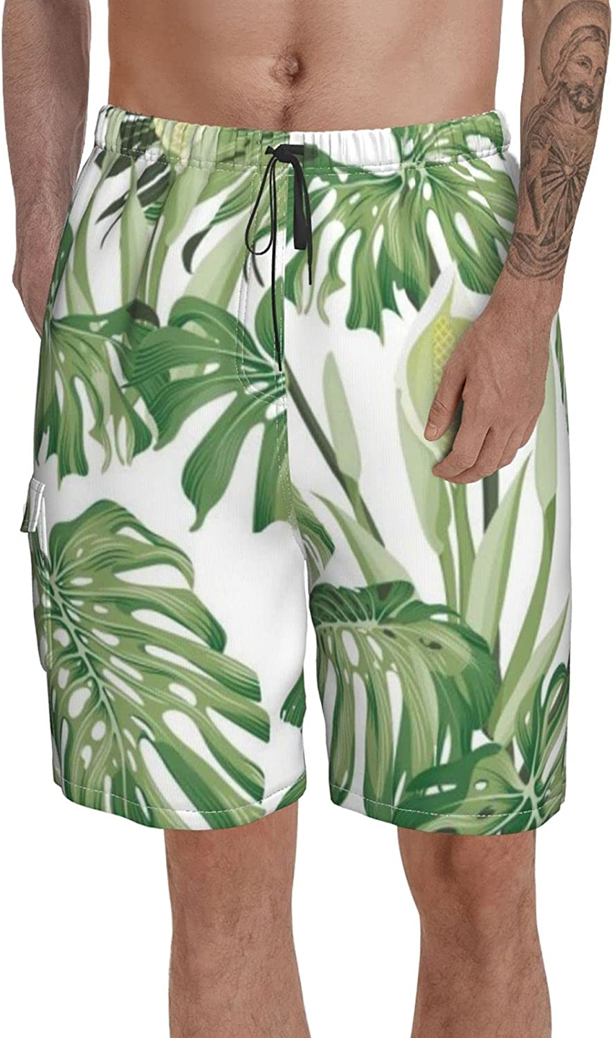 Men Volley Shorts Mid Length Swim Trunks Monstera Leaves Flowers Tropical Printed Bathing Suits for Beach