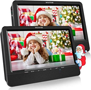 WONNIE 10.5 Dual DVD Player Portable CD Players for Car Headrest with 5 Hours Rechargeable Battery, USB/SD/MMC Support, Last Memory( Two Screens Play One Movie),