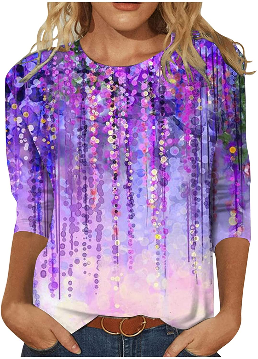 UBST Women's Round Neck Tops Loose Fit,2021 Fall Fashion Casual Comfy T-Shirt Printed Midi Sleeves Tunic Blouses