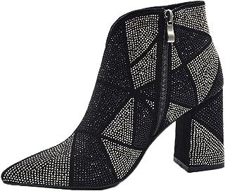 Zwarte enkellaarsjes vrouwen sexy mode bling kristal steentjes partij laarzen blok hak puntschoen hoge hakken