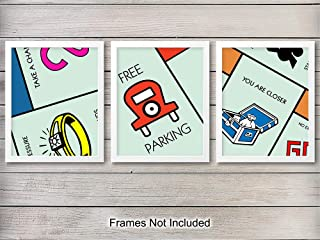 Monopoly Wall Art Prints - Unframed Set of Three - Great Gift For Graduation, Kids and Game Rooms, Office and Home Decor - Ready to Frame (8x10) Photos