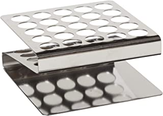 "Globe Scientific 457200 Stainless Steel ""Z"" Shape Tube Rack, 16/17mm Tubes, 25-Place"