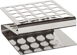 """Globe Scientific 457200 Stainless Steel """"Z"""" Shape Tube Rack, 16/17mm Tubes, 25-Place"""