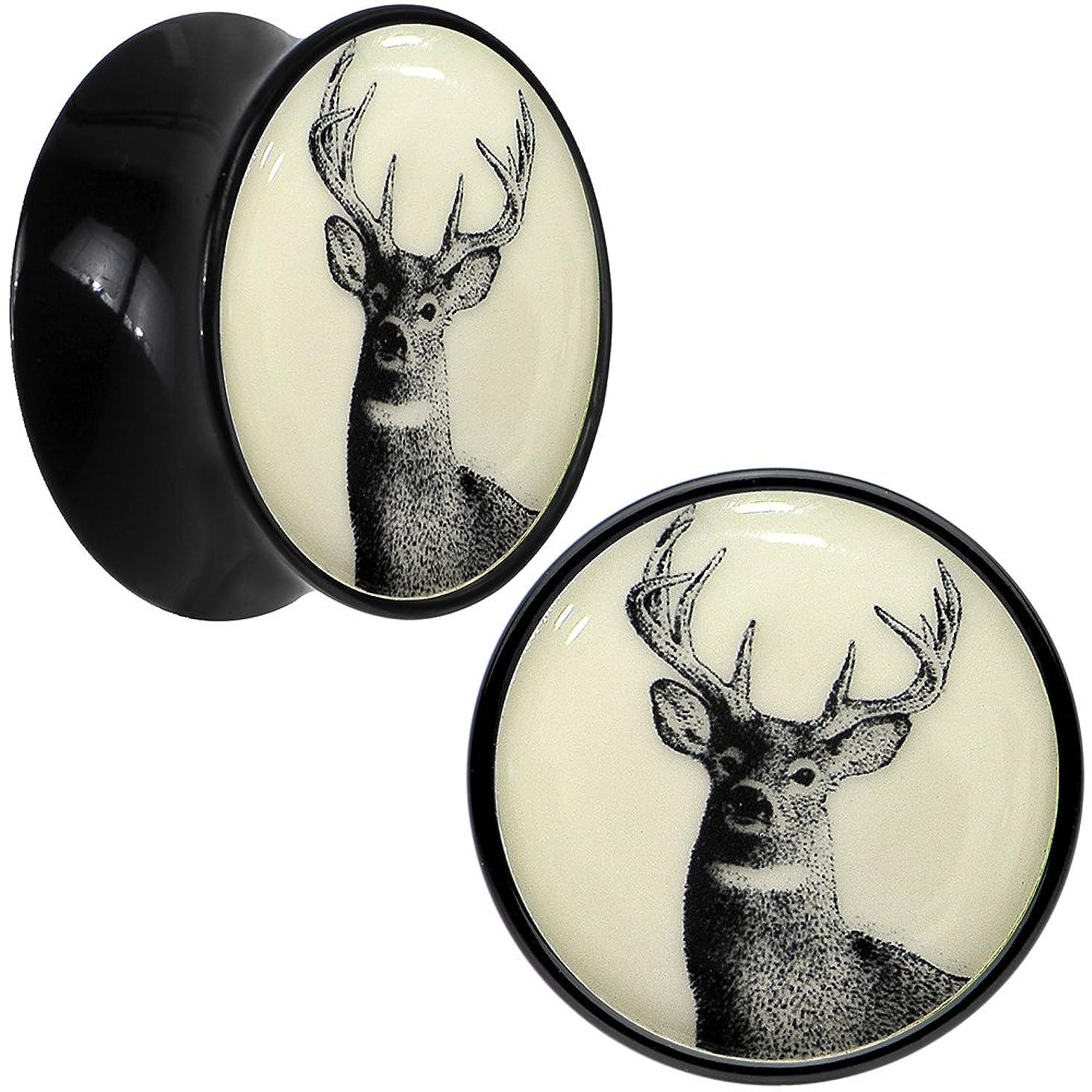 Body Candy Black Acrylic Buck Deer Glow in The Dark Saddle Ear Gauge Plug Pair 5/8