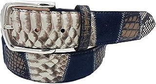 ESPERANTO Cintura Pitone Coccodrillo, pelle scamosciata, cuoio-unisex (abrasivato a mano) 4 cm
