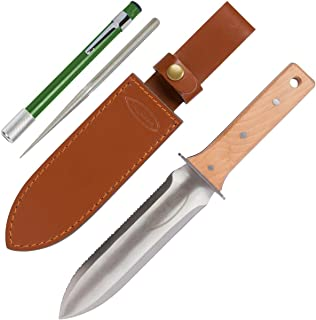 Hori Hori Garden Knife with Diamond Sharpening Rod, Thickest Leather Sheath and Extra..