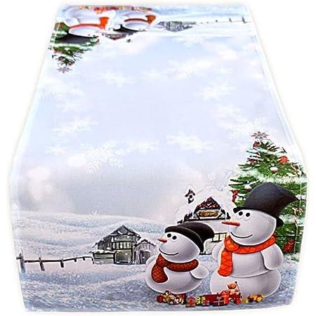 Tischl/äufer 40x85 cm Kamaca Serie Schneemann mit Geschenken hochwertiges Druck-Motiv Eyecatcher Herbst Winter