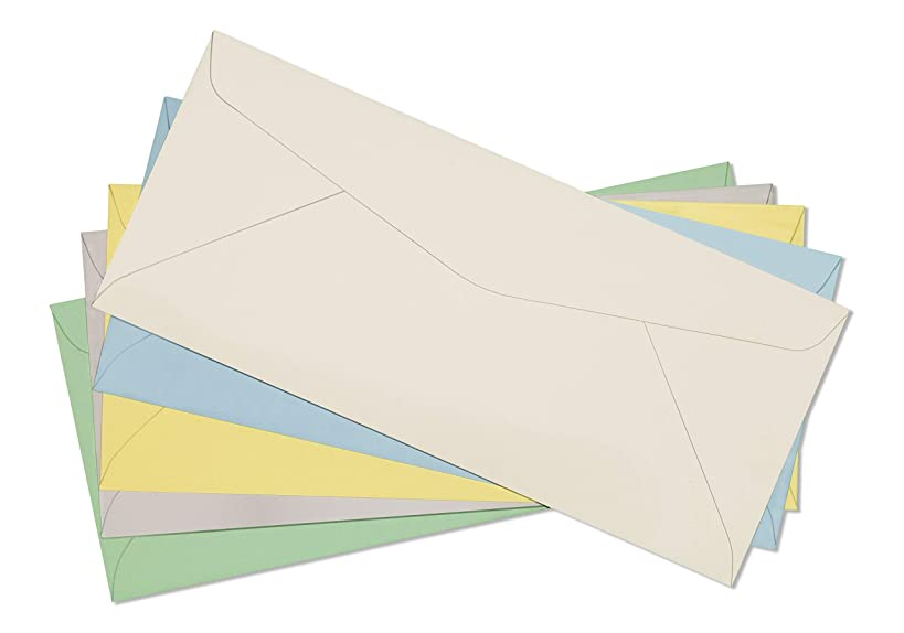 # 10 Pastel Color Envelopes-Assorted Pack Green Grey Yellow Cream Blue-4 1/8 x 9-1/2 Inch -Pack of 50